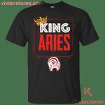Kings Are Born In Aries Men Birthday T-Shirt-Vivianstores