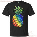 Pineapple Rainbow colors Men's Women's T-shirt-Vivianstores
