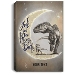 I Love You To The Moon And Back T-rex Mom And Kid Personalized Canvas Poster VA03