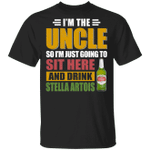 I'm The Uncle I Just Sit And Drink Stella Artois T-shirt Beer Tee VA02
