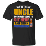 I'm The Uncle I Just Sit And Drink Pabst Blue Ribbon T-shirt Beer Tee VA02