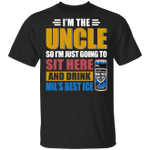 I'm The Uncle I Just Sit And Drink Mil's Best Ice T-shirt Beer Tee VA02