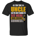 I'm The Uncle I Just Sit And Drink Guinness T-shirt Beer Tee VA02