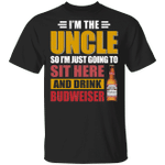 I'm The Uncle I Just Sit And Drink Budweiser T-shirt Beer Tee VA02