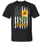 Sunflower American October Girl T-shirt Birthday Tee MT04