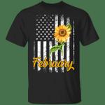 Sunflower American February Girl T-shirt Birthday Tee MT04