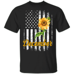 Sunflower American December Girl T-shirt Birthday Tee MT04