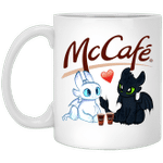 Toothless And Light Fury Drinking McCafe T-shirt Coffee Tee MT05
