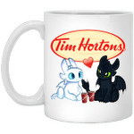 Toothless And Light Fury Drinking Tim Horton's T-shirt Coffee Tee MT05