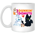 Toothless And Light Fury Drinking Dunkin' T-shirt Coffee Tee MT05