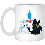 Toothless And Light Fury Drinking Blue Bottle T-shirt Coffee Tee MT05