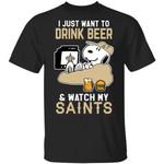 Saints T-Shirt Just Want To Drink Beer & Watch Snoopy Tee HA08-Amazingfairy.com