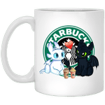 Toothless And Light Fury Drinking Starbuck T-shirt Coffee Tee MT05