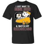 Just Want To Drink Beer & Watch Redskins Snoopy T-Shirt HA08-Amazingfairy.com