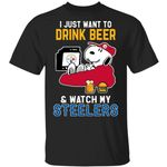 Just Want To Drink Beer & Watch Steelers Snoopy T-Shirt HA08-Amazingfairy.com