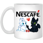 Toothless And Light Fury Drinking Nescafe T-shirt Coffee Tee MT05