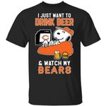 Bears T-Shirt Just Want To Drink Beer & Watch Snoopy Tee HA08-Amazingfairy.com