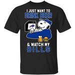 Bills T-Shirt Just Want To Drink Beer & Watch Snoopy Tee HA08-Amazingfairy.com