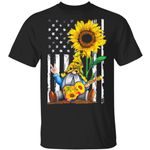 US Flag Sunflower Hippie Gnome T-shirt 4th Of July Tee MT06