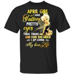 April Girl T-shirt I Have Tattoos Pretty Eyes Thick Thighs Tinker Bell Tee MT03-Amazingfairy.com