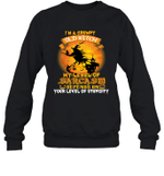 I'm A Grumpy Old Witch My Level Of Sarcasm Depends On Your Level Of Stupidity Crewneck Sweatshirt Halloween Tee