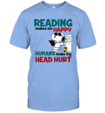 Joe Cool Snoopy Reading T-shirt Book Makes Me Happy Tee