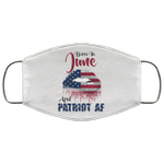 Born In June And Patriot AF Face Mask Birthday Sexy American Lips