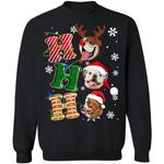 Christmas Dog Sweater HoHoHo Bulldog Santa Sweatshirt Xmas HA12-99Paws-com