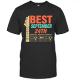 Best Guitar Dad Chords Birthday September 24th T-shirt Family Tee