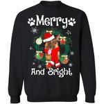 Merry And Bright German Shepherd Dog Xmas Sweater Gift Idea MN11-99Paws-com