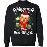 Merry And Bright Golden Retriever Dog Xmas Sweater Gift Idea MN11-99Paws-com