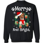 Merry And Bright Parson Russell Dog Xmas Sweater Gift Idea MN11-99Paws-com