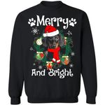 Merry And Bright Dachshund Xmas Sweater Gift Idea MN11-99Paws-com