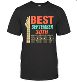 Best Guitar Dad Chords Birthday September 30th T-shirt Tee