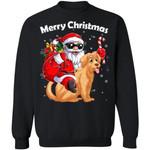 Christmas Sweater Santa Riding Golden Retriever Dog Xmas Sweatshirt HA12-99Paws-com