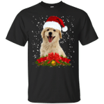 Puppy Golden Retriever In Christmas Hat Funny Xmas T-Shirt Gift Idea-99Paws-com
