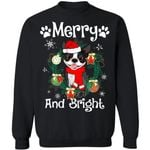 Merry And Bright Boston Terrier Dog Xmas Sweater Gift Idea MN11-99Paws-com