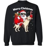 Christmas Sweater Santa Riding Labrador Dog Xmas Sweatshirt HA12-99Paws-com