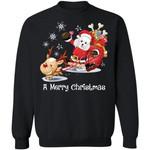 A Merry Christmas Santa Poodle Dog Sweatshirt Xmas Gift
