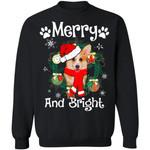 Merry And Bright Corgi Dog Xmas Sweater Gift Idea
