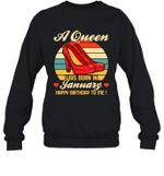 A Queen Was Born Vintage High Heels Januar Crewneck Sweatshirt