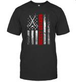 American Flag Hockey Family Hockey Grandpa T-shirt