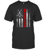 American Flag Hockey Family Hockey Bonus Dad T-shirt