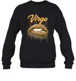 Virgo Zodiac Birthday Golden Lips For Black Women Crewneck Sweatshirt