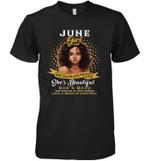 June Girl She Slays,She Prays She's Beautiful Birthday Sleeve Crew Tee