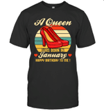 A Queen Was Born Vintage High Heels Januar T-shirt