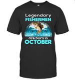 Fishing Legend Born In October Funny Fisherman Gif Birthday T-shirt