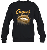 Cancer Zodiac Birthday Golden Lips For Black Women Crewneck Sweatshirt