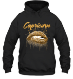 Capricorn Zodiac Birthday Golden Lips For Black Women Birthday Hoodie Sweatshirt