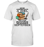 A Girl Who Love Books And Was Born In September Birthday T-shirt